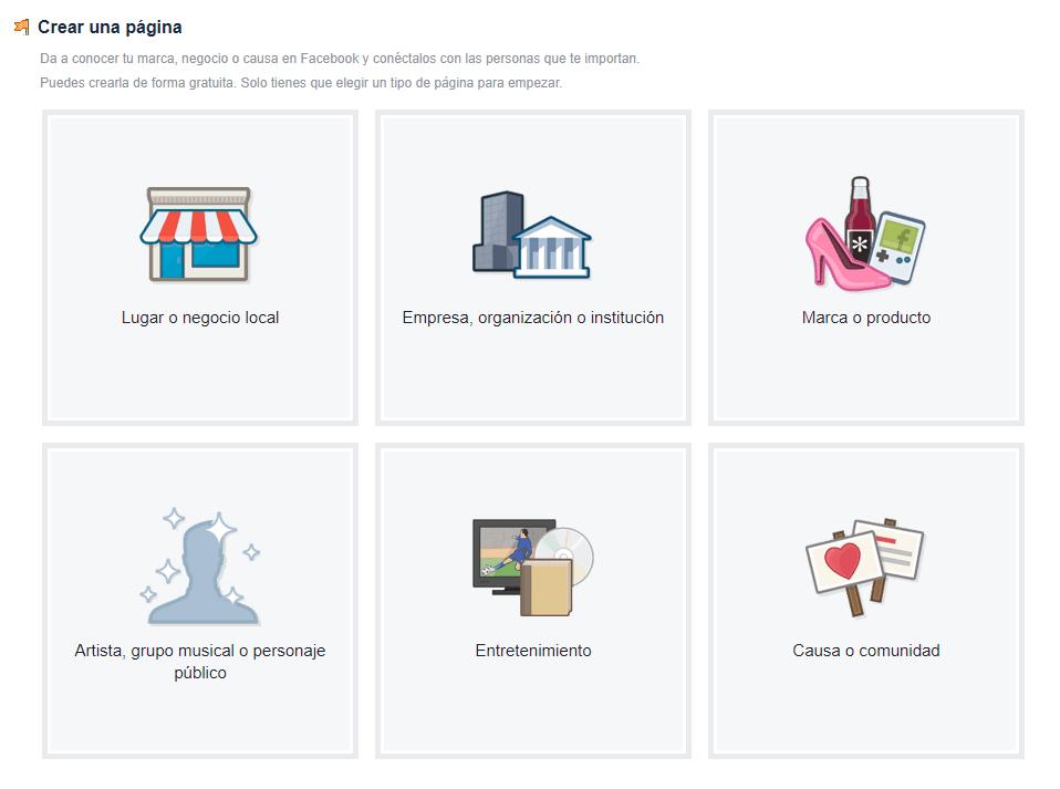 tipos de cuenta facebook paginas